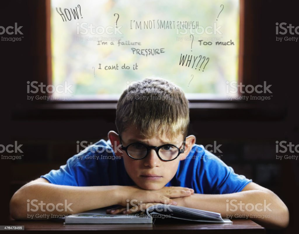 Struggling to learn - Learning disabilities royalty-free stock photo