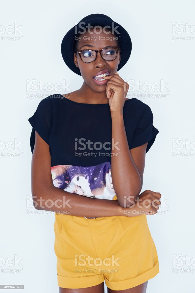 Struggling to make this decision... stock photo