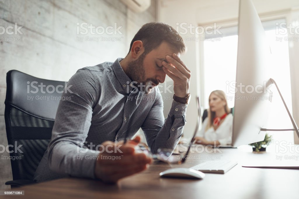 Struggling With Occupational Stress royalty-free stock photo