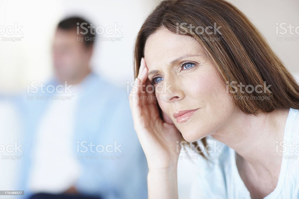 Struggling within her marriage royalty-free stock photo