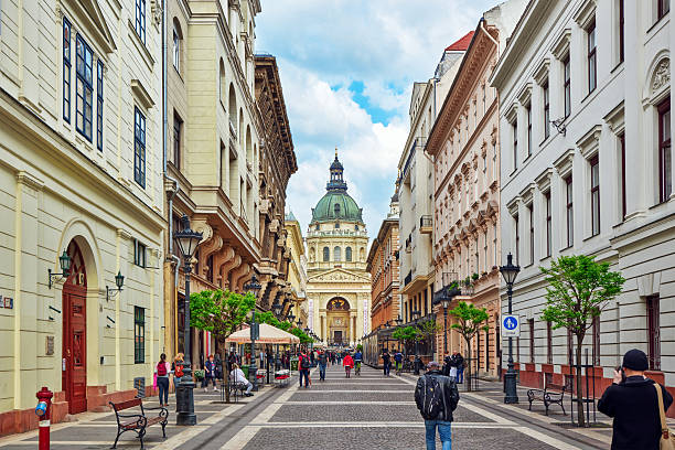 St.Stephen Basilica in Budapest . stock photo