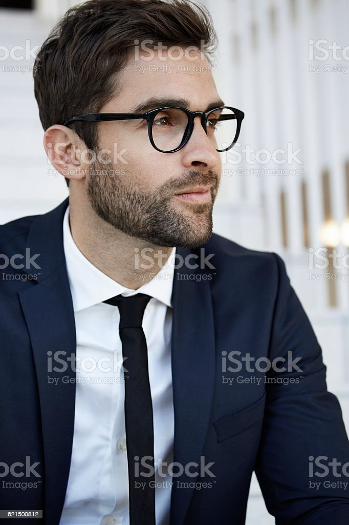 Stubble businessman in glasses, close up photo libre de droits