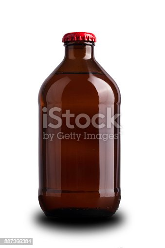 One stubby beer bottle on a white background