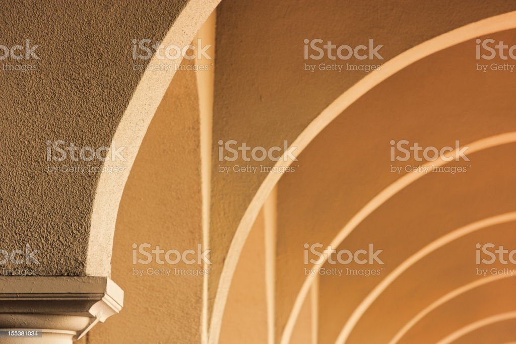 Stucco Architecture Ceiling Arch Pattern stock photo