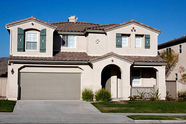 Stucco Home Exterior and  Blue Sky stock photo