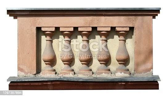 Stucco moldings on a building built in the middle of the 20th  century. Isolated on white
