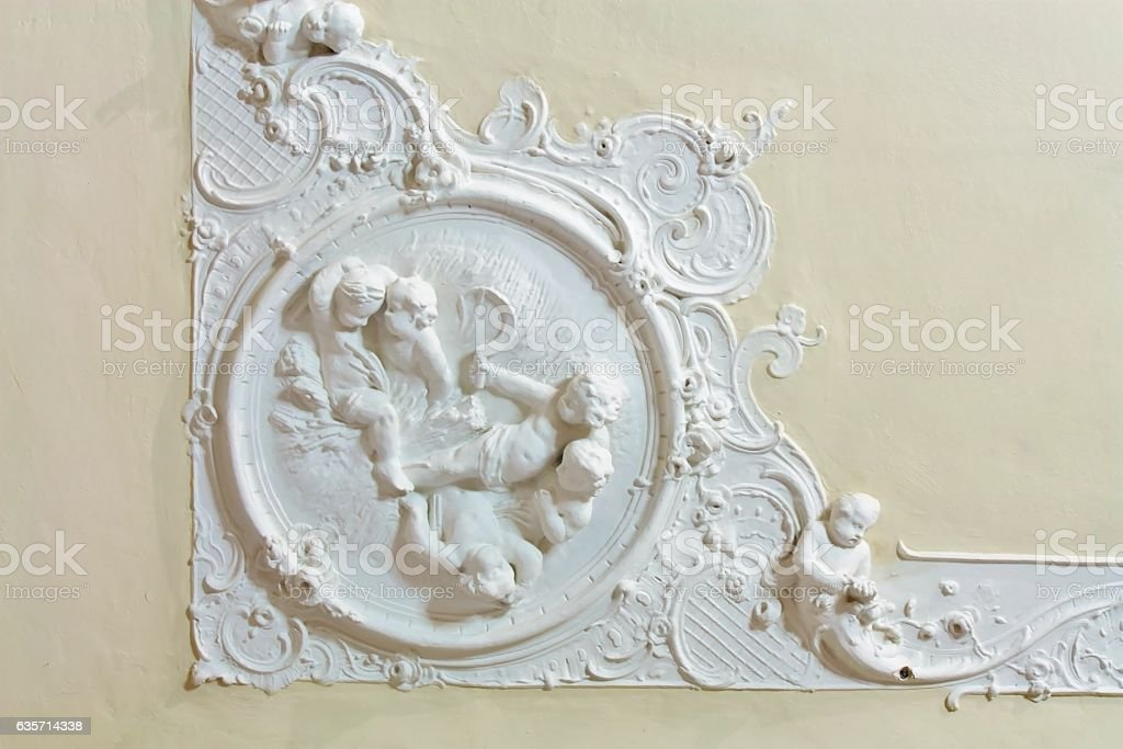 Stucco on the ceiling of historic building royalty-free stock photo