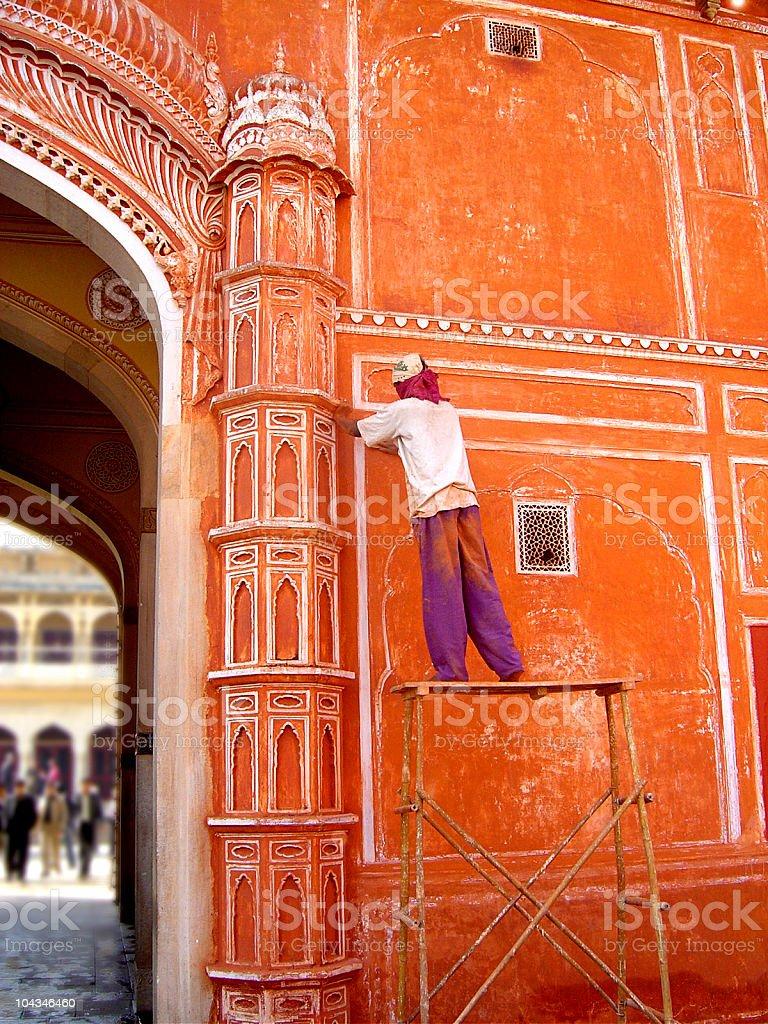 Stucco Orange Palace Wall  In India royalty-free stock photo