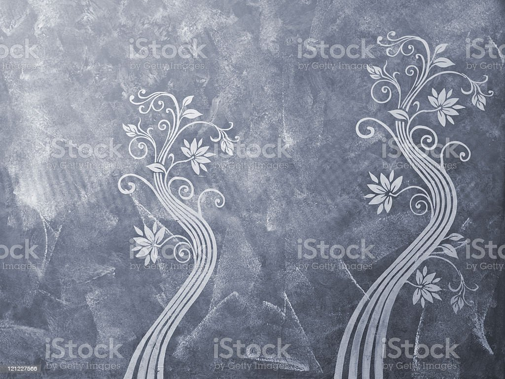 Stucco wall with floral ornaments royalty-free stock photo