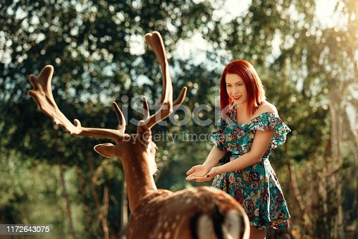 Red haired woman wearing colorful dress posing in nature with deer, fairytale concept