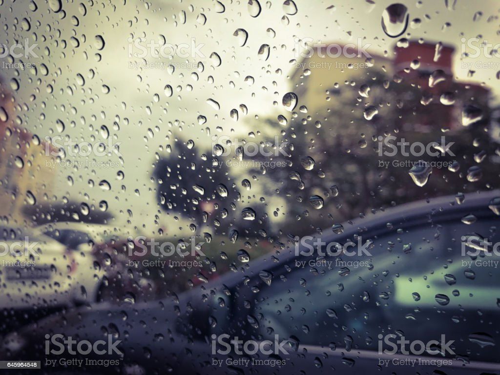 Stuck in a traffic jam due to weather! stock photo