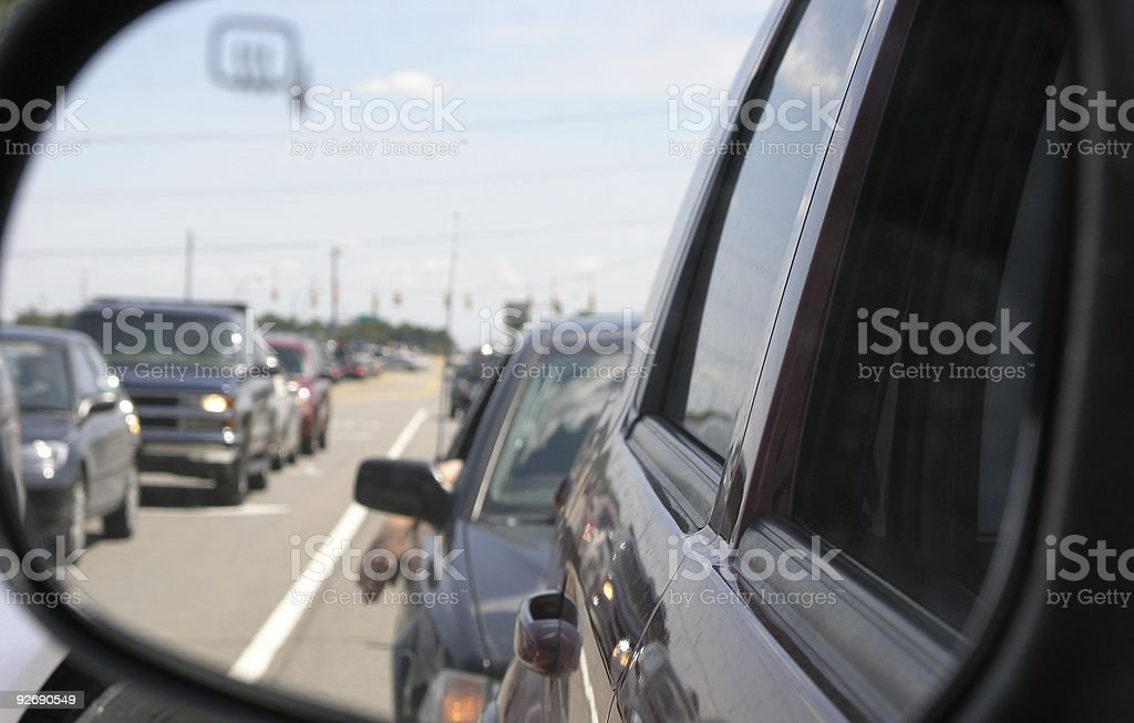 Stuck in a traffic jam royalty-free stock photo