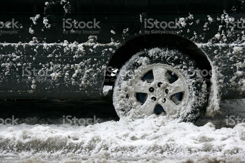 stuck in parking snow stock photo