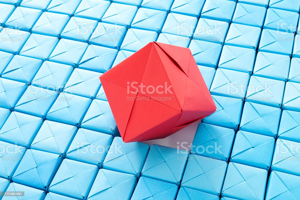Stuck red cube royalty-free stock photo