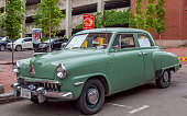 Moncton, New Brunswick, Canada - July 8, 2016 : 1947 Studebaker Champion DeLuxe parked in downtown district during 2016 Atlantic Nationals, Moncton, New Brunswick, Canada.
