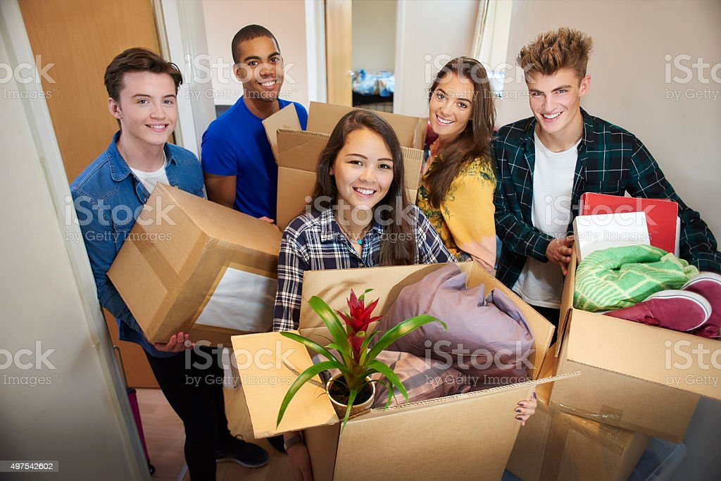 student accommodation friends stock photo