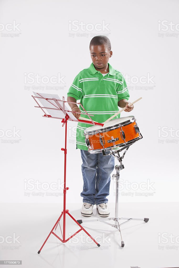 Student and Snare Drum. stock photo