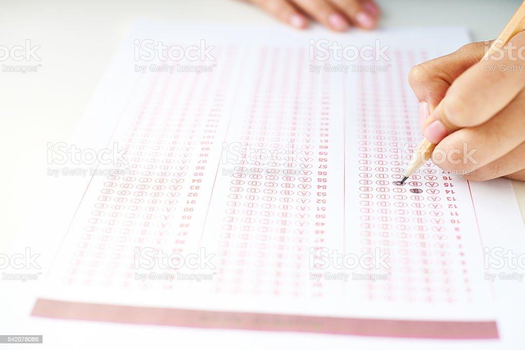 Student answer sheet stock photo