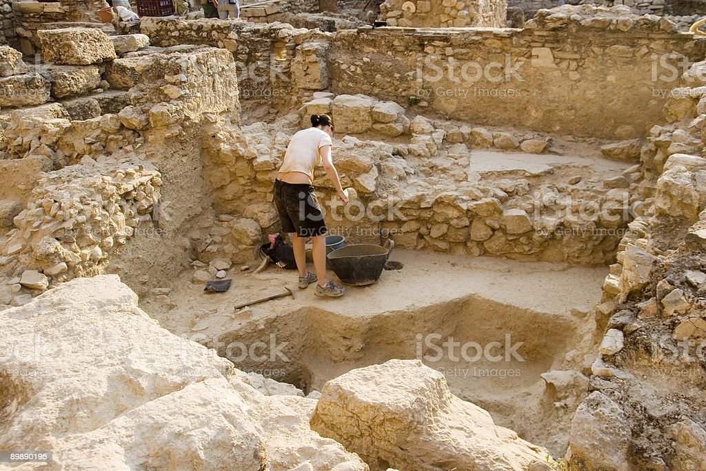 student archaeologist in Greece stock photo