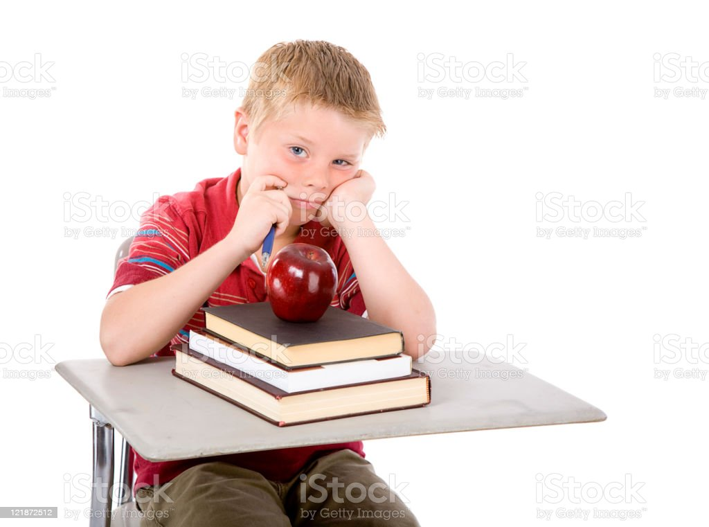 Student at Desk stock photo