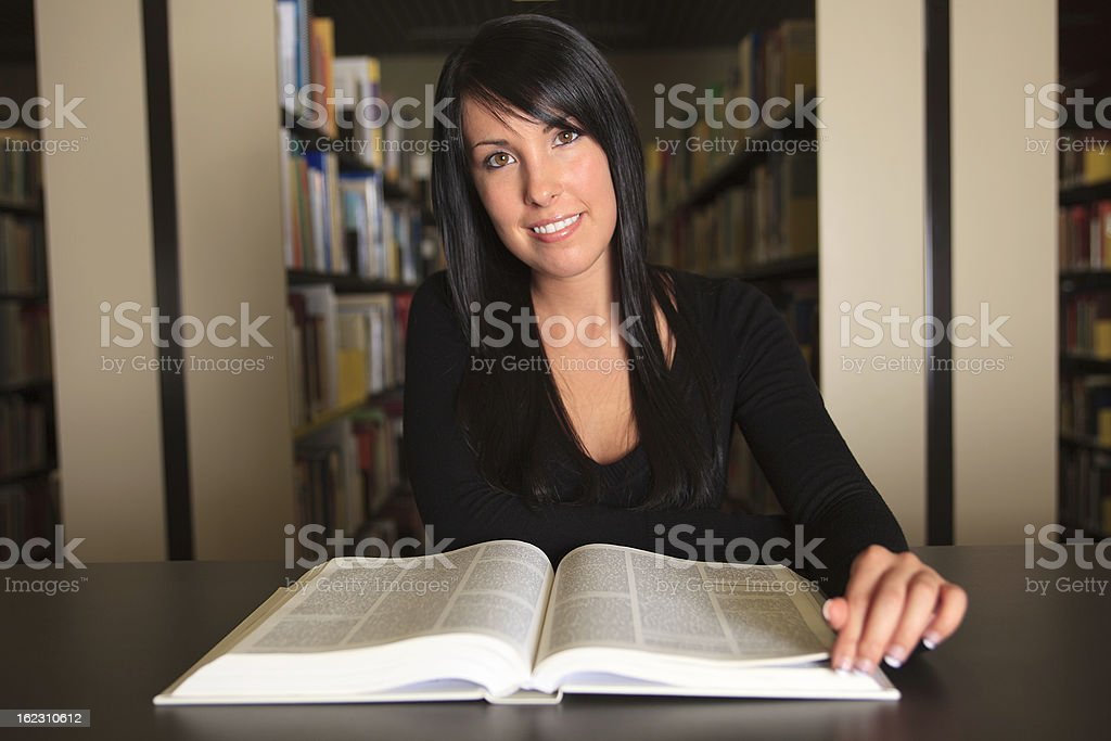 Student at Library - Woman Read Book royalty-free stock photo
