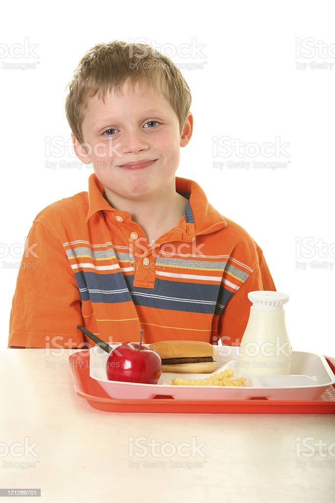 student at lunch table royalty-free stock photo