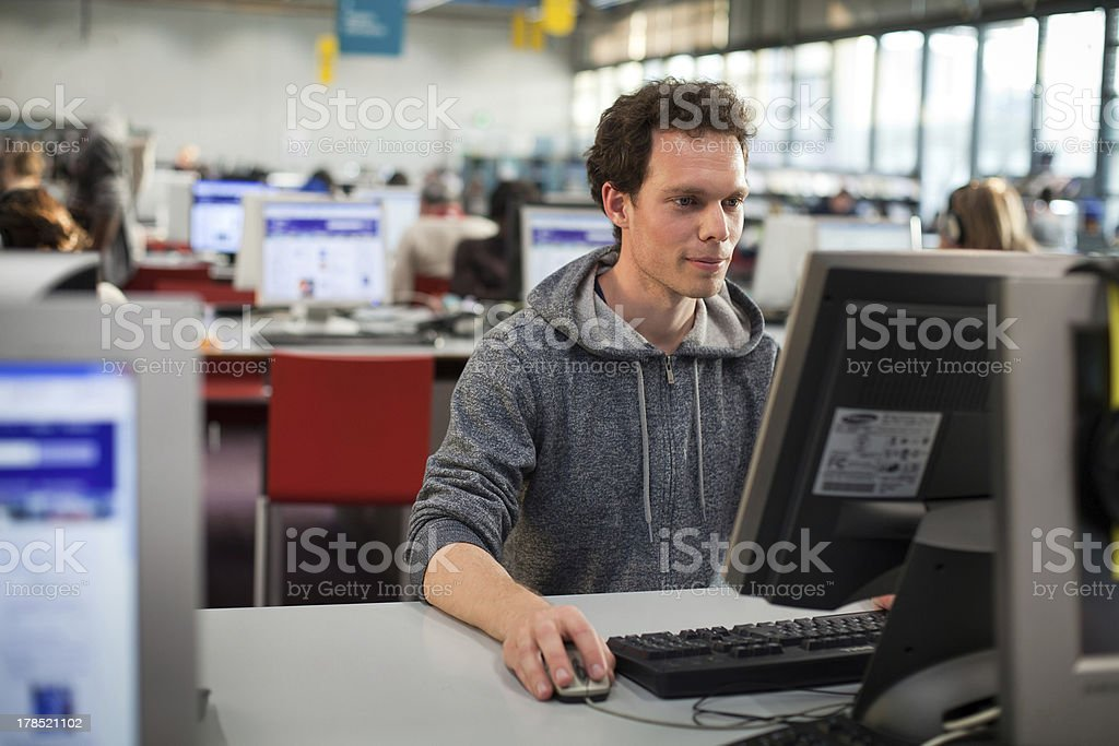 student at the computer stock photo