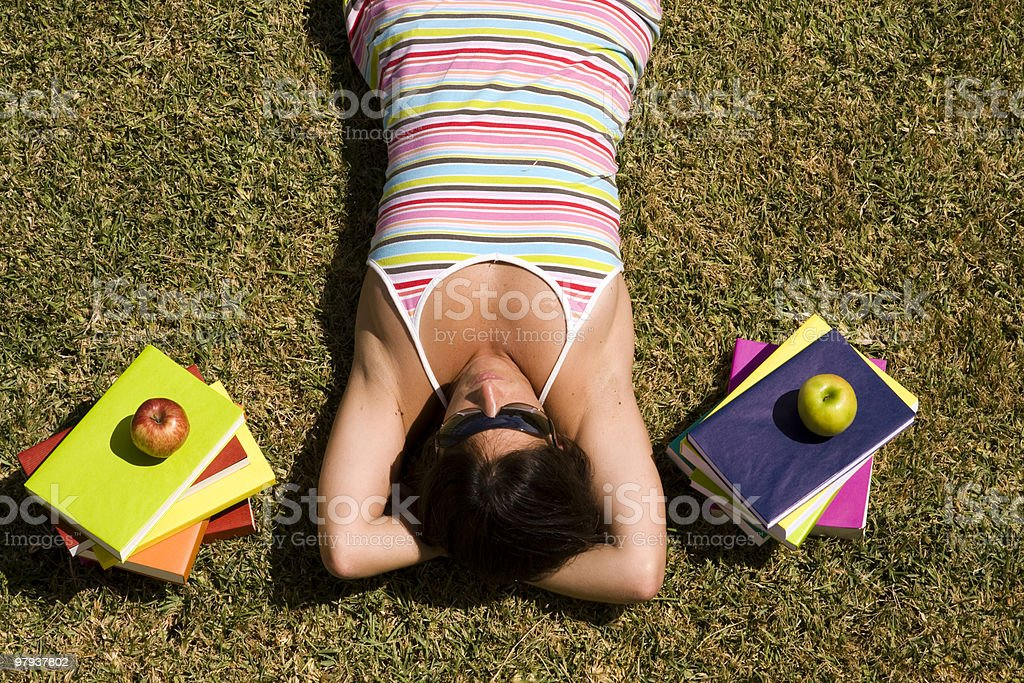 student at the grass royalty-free stock photo