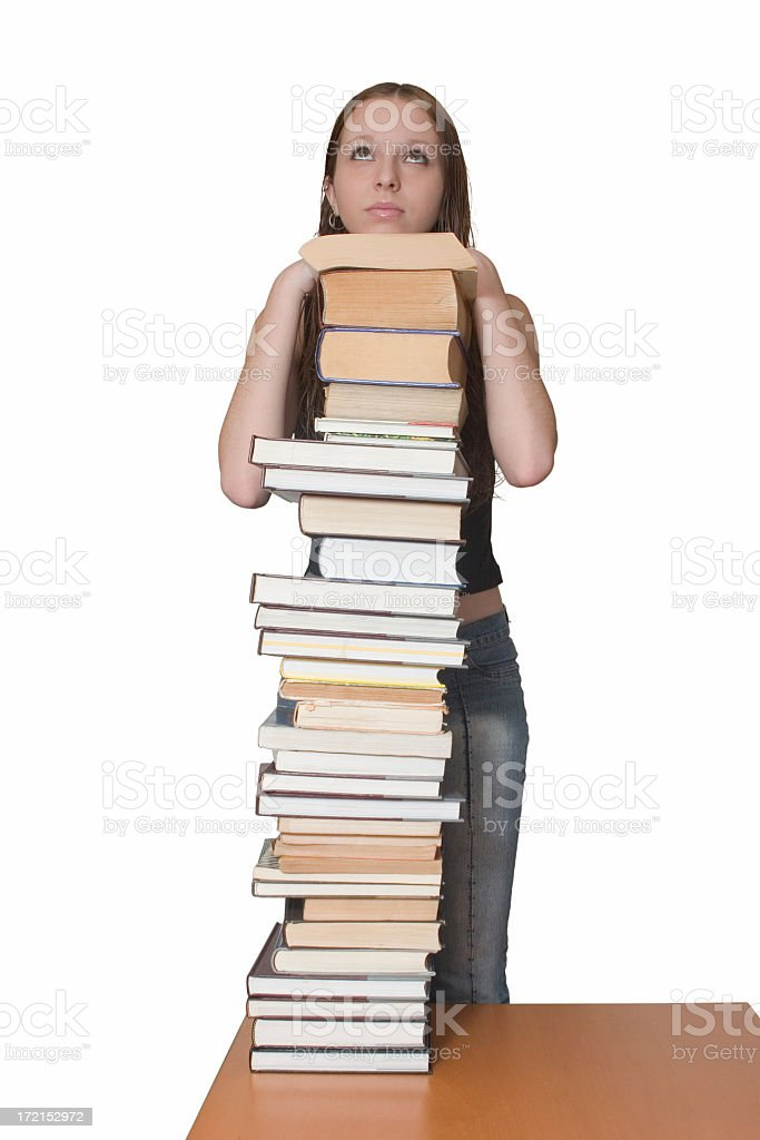 Student behind books royalty-free stock photo