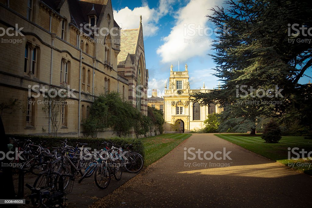 Student bikes at Oxford University stock photo