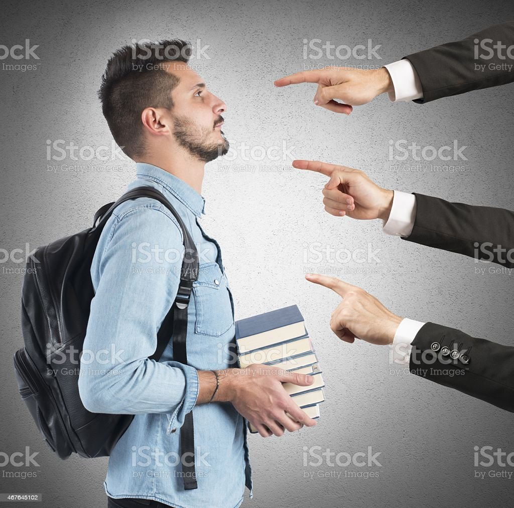 Student blamed unfairly stock photo