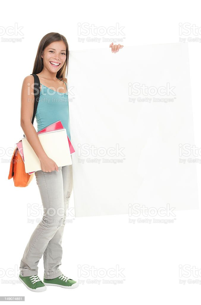 Student blank sign royalty-free stock photo
