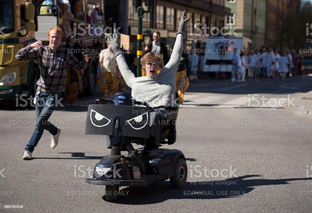 學生嘉年華在斯德哥爾摩 Quarnevalen 免版稅 stock photo