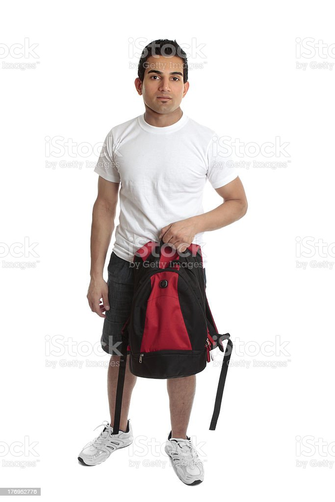 Student carrying backpack royalty-free stock photo