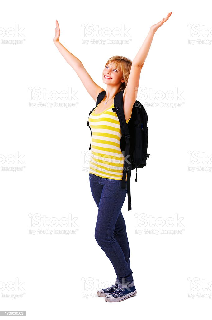 Student celebrating royalty-free stock photo