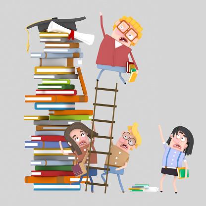 Student climbing a ladder