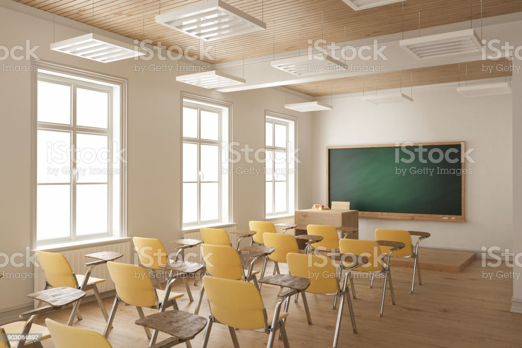 Student Desks And Chairs Arranged In A Row In The Classroom Royalty Free  Stock Photo