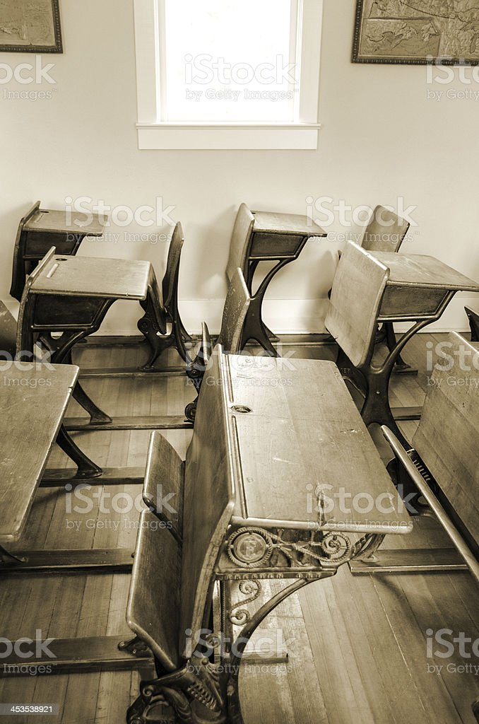 Student Desks and Sunlight royalty-free stock photo