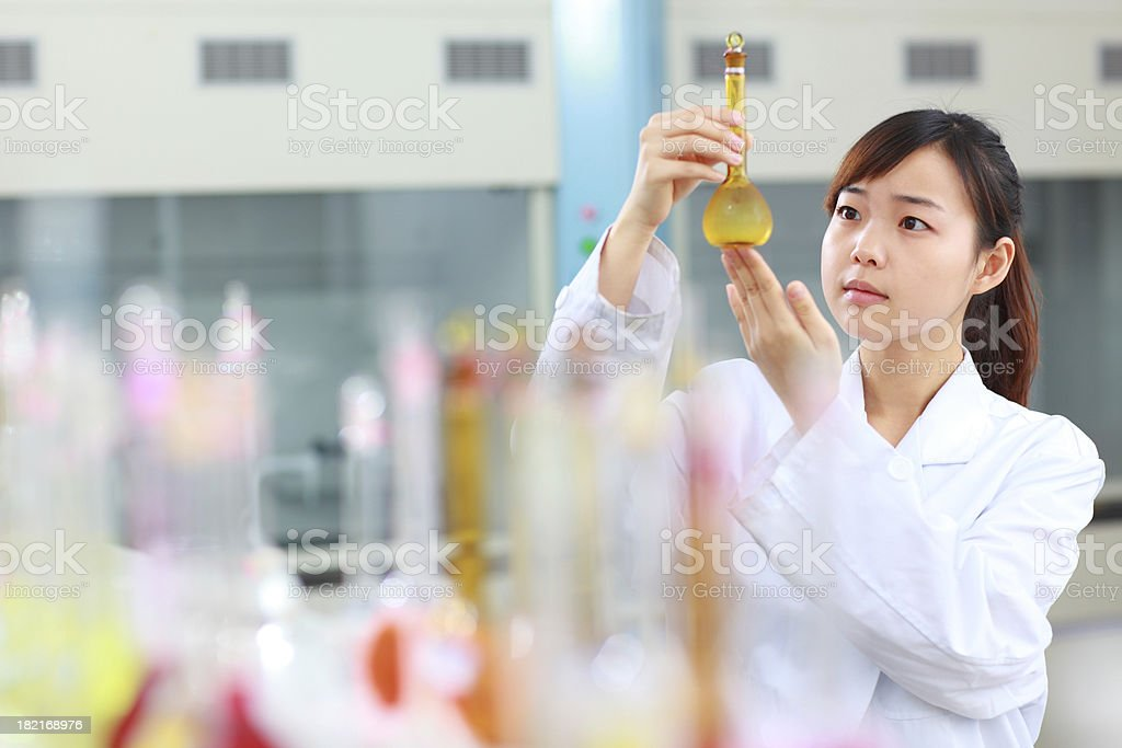 student doing test in the lab stock photo