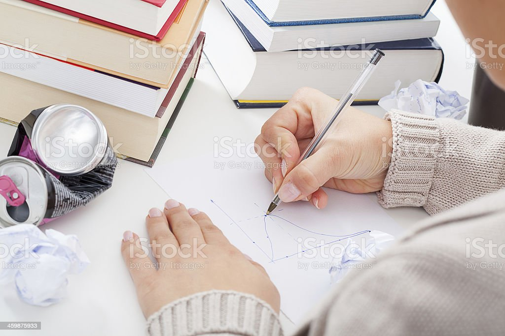 Student drawing a chart stock photo