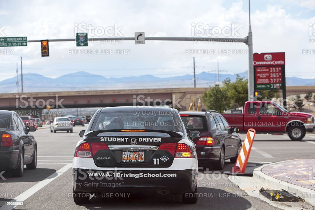 Student Driver taking a driving lessons stock photo