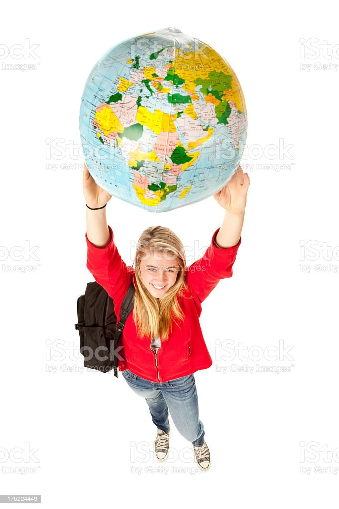 Student Exchange Program with Young Woman Holding World Globe royalty-free stock photo
