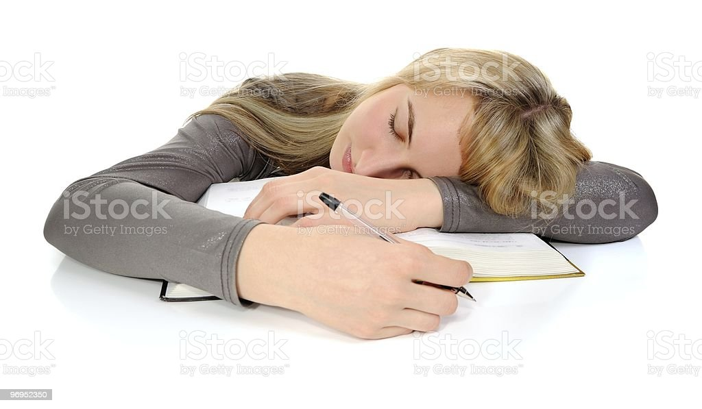 student fell asleep during studying royalty-free stock photo