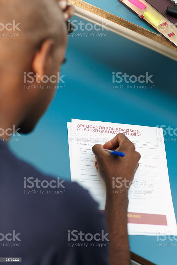 student filling application form royalty-free stock photo
