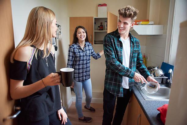 student flatmates in the kitchen stock photo