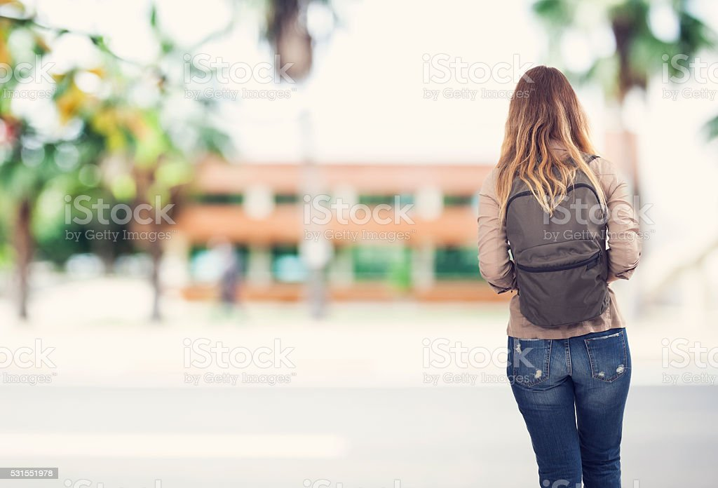 Student girl at school stock photo
