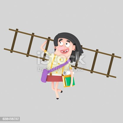 Student girl holding many books and ladder