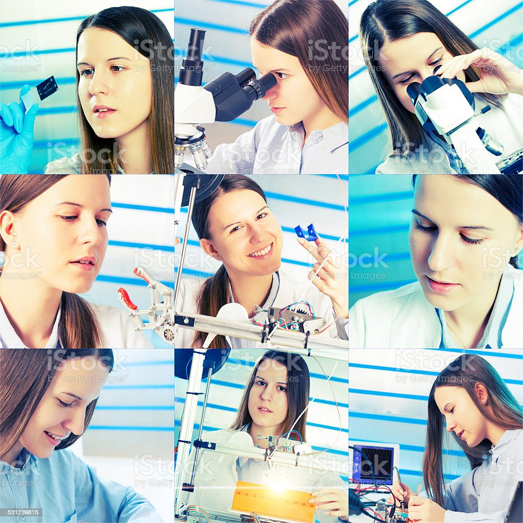 student girl in a university research laboratory stock photo