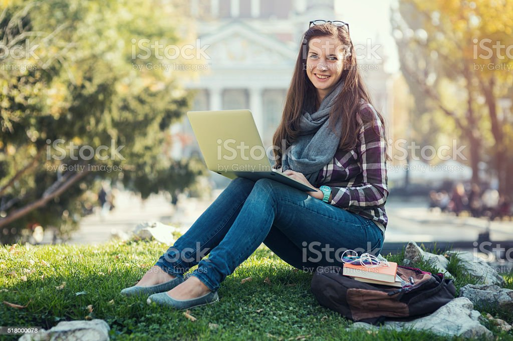 Student girl in the campus stock photo