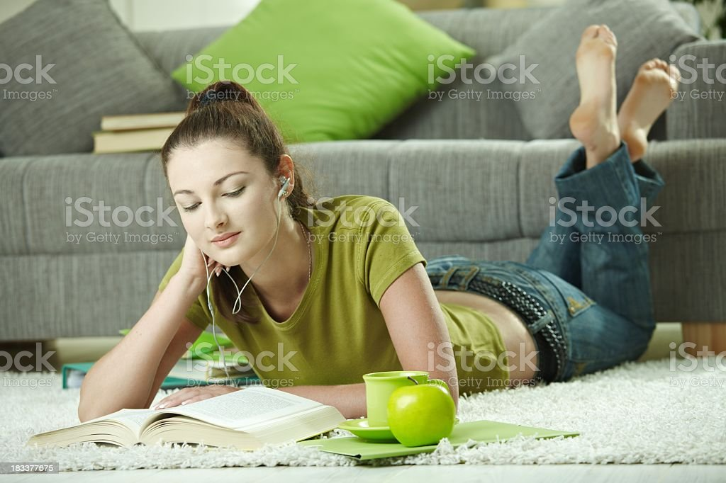 Student girl learning at home royalty-free stock photo